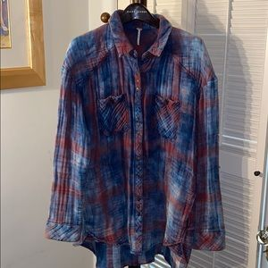 FREE PEOPLE HI'LO PLAID SHIRT L